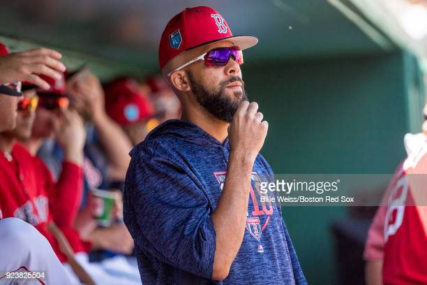 David Price of the Boston Red Sox looks on during a game against the Tampa Bay Rays at JetBlue Park at Fenway South on February 24 2018 in Fort Myers...
