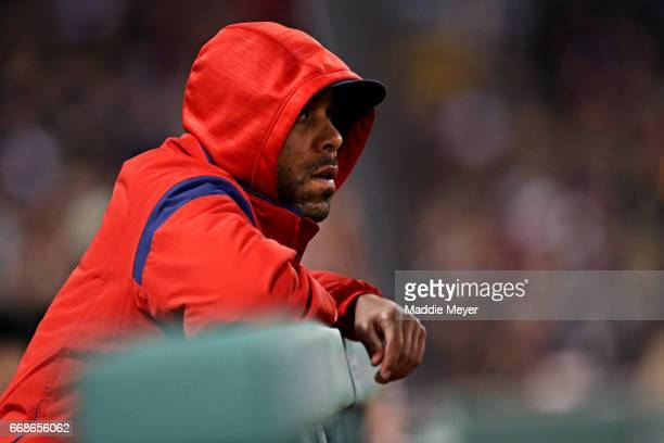David Price of the Boston Red Sox looks on from the dugout during the fourth inning against the Tampa Bay Rays at Fenway Park on April 14 2017 in...