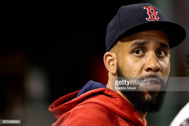 David Price of the Boston Red Sox looks on from the dugout during the sixth inning against the Cleveland Indians at Fenway Park on August 1 2017 in...