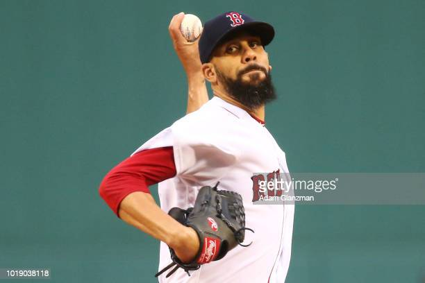 David Price of the Boston Red Sox pitcher sin the first inning of a game against the Tampa Bay Rays at Fenway Park on August 18 2018 in Boston...