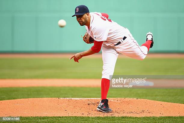 David Price of the Boston Red Sox pitches against the Baltimore Orioles during the first inning of the Red Sox home opener at Fenway Park on April 11...