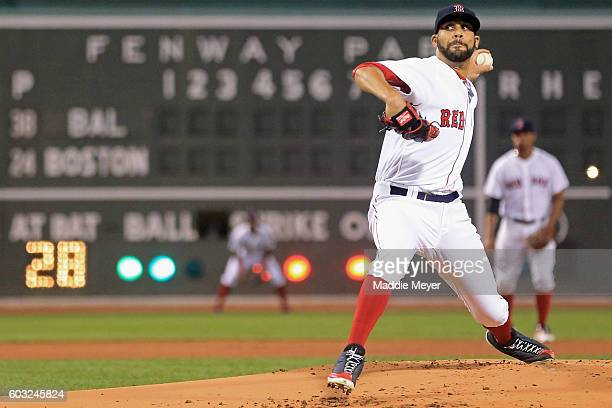 David Price of the Boston Red Sox pitches against the Baltimore Orioles during the first inning at Fenway Park on September 12 2016 in Boston...