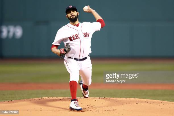 David Price of the Boston Red Sox pitches against the New York Yankees during the first inning at Fenway Park on April 11 2018 in Boston Massachusetts