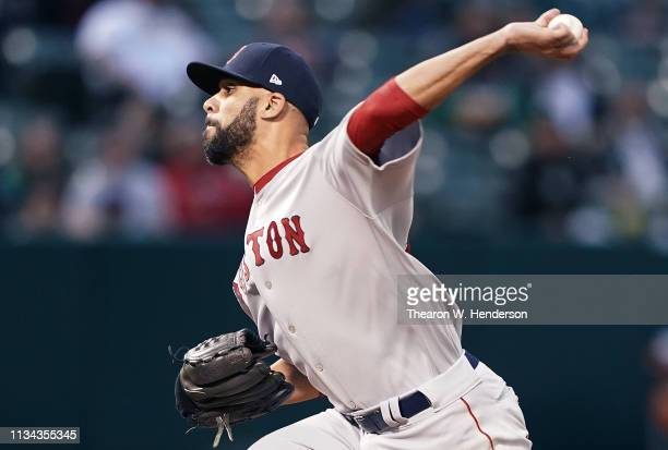 David Price of the Boston Red Sox pitches against the Oakland Athletics in the bottom of the first inning at OaklandAlameda County Coliseum on April...