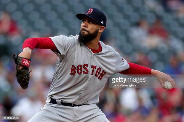 David Price of the Boston Red Sox pitches against the Texas Rangers in the bottom of the first inning at Globe Life Park in Arlington on May 3 2018...