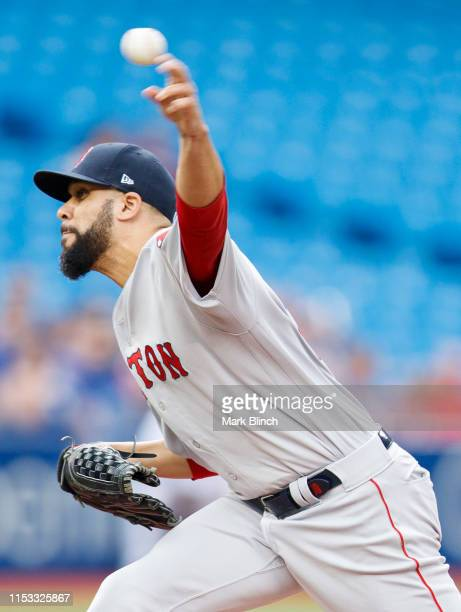 David Price of the Boston Red Sox pitches against the Toronto Blue Jays in the first inning during a MLB game at the Rogers Centre on July 2, 2019 in...