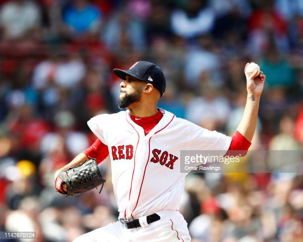 David Price of the Boston Red Sox pitches at the top of the fourth inning of the game against the Baltimore Orioles at Fenway Park on April 14, 2019...
