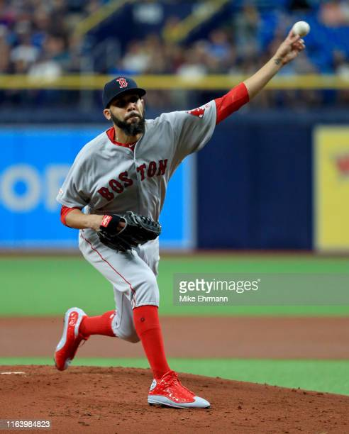 David Price of the Boston Red Sox pitches during a game against the Tampa Bay Rays at Tropicana Field on July 24, 2019 in St Petersburg, Florida.