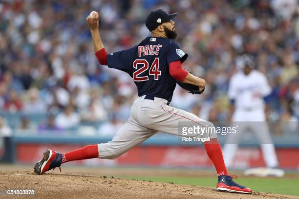 David Price of the Boston Red Sox pitches during Game 5 of the 2018 World Series against the Los Angeles Dodgers at Dodger Stadium on Sunday October...