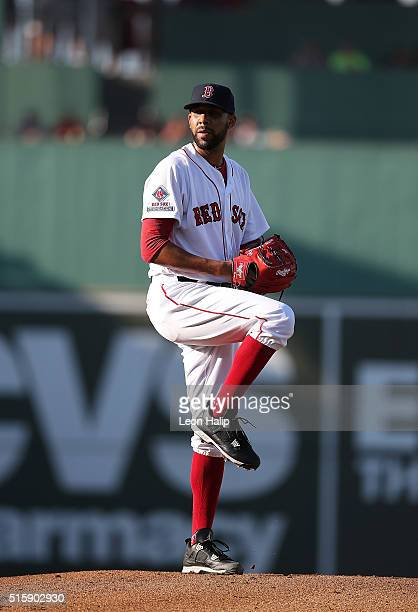 David Price of the Boston Red Sox pitches during the first inning of the Spring Training Game against the New York Yankees on March 15 2016 at Jet...