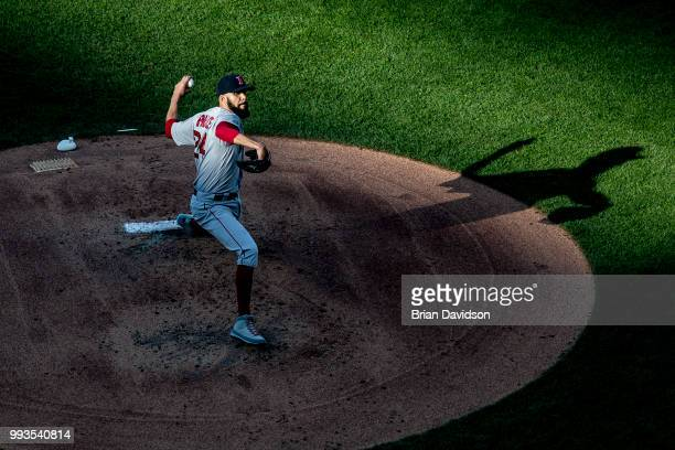 David Price of the Boston Red Sox pitches during the first inning against the Kansas City Royals at Kauffman Stadium on July 7 2018 in Kansas City...