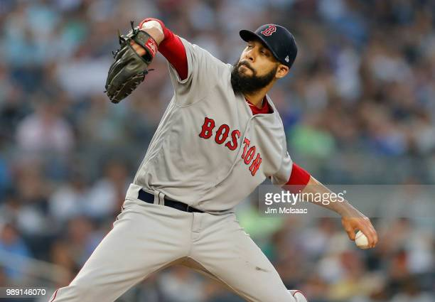 David Price of the Boston Red Sox pitches in the first inning against the New York Yankees at Yankee Stadium on July 1 2018 in the Bronx borough of...