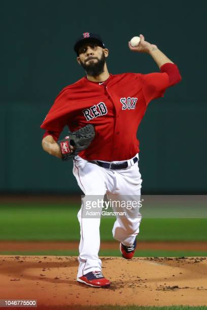 David Price of the Boston Red Sox pitches in the first inning during Game 2 of the ALDS against the New York Yankees at Fenway Park on Saturday...
