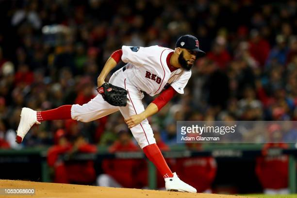 David Price of the Boston Red Sox pitches in the first inning during Game 2 of the 2018 World Series against the Los Angeles Dodgers at Fenway Park...