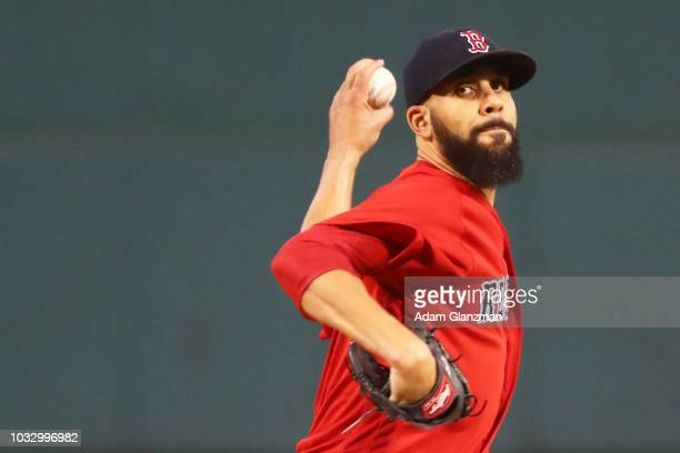 David Price of the Boston Red Sox pitches in the first inning of a game against the Houston Astros at Fenway Park on September 7 2018 in Boston...