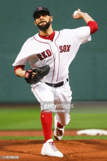 David Price of the Boston Red Sox pitches in the first inning of a game against the Cleveland Indians at Fenway Park on May 28, 2019 in Boston,...