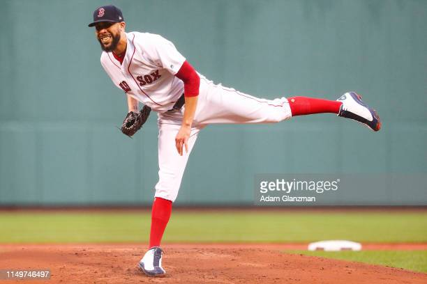 David Price of the Boston Red Sox pitches in the first inning of a game against the Texas Rangers at Fenway Park on June 13, 2019 in Boston,...