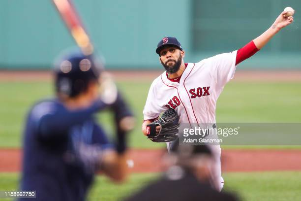 David Price of the Boston Red Sox pitches in the first inning of a game against the Tampa Bay Rays at Fenway Park on July 30, 2019 in Boston,...