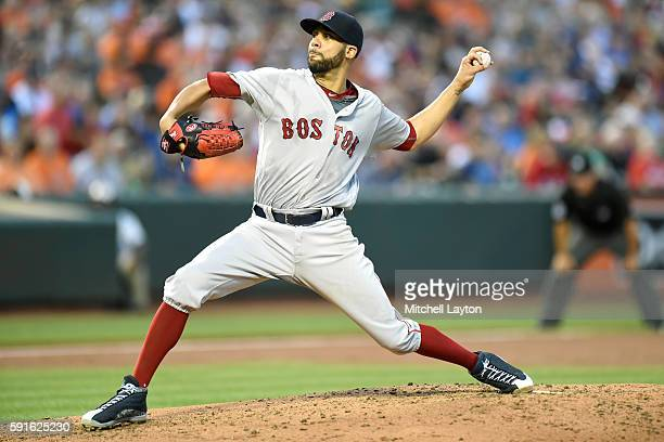 David Price of the Boston Red Sox pitches in the second inning during a baseball game against the Baltimore Orioles at Oriole Park at Camden Yards at...