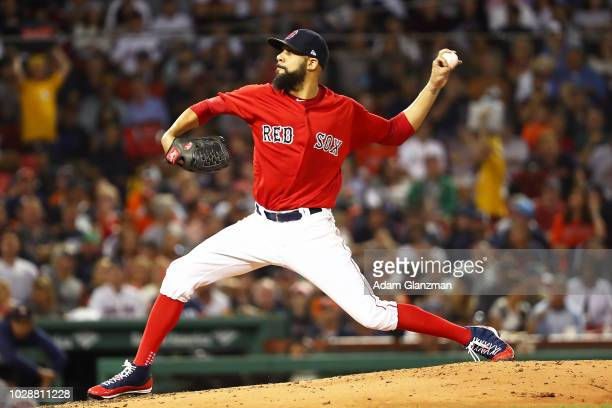 David Price of the Boston Red Sox pitches in the second inning of a game against the Houston Astros at Fenway Park on September 7 2018 in Boston...