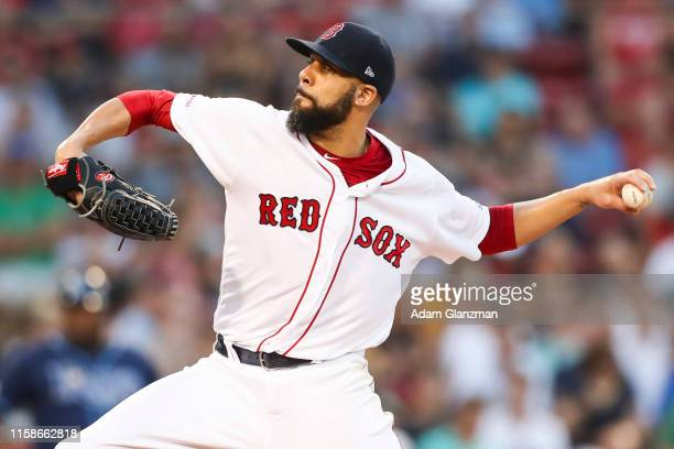 David Price of the Boston Red Sox pitches in the second inning of a game against the Tampa Bay Rays at Fenway Park on July 30, 2019 in Boston,...