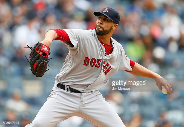 David Price of the Boston Red Sox pitches in the second inning against the New York Yankees at Yankee Stadium on May 7 2016 in the Bronx borough of...