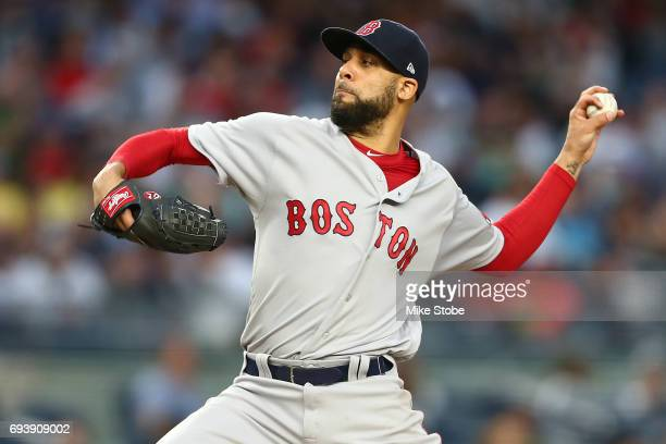 David Price of the Boston Red Sox pitches in the second inning against the New York Yankees at Yankee Stadium on June 8 2017 in the Bronx borough of...