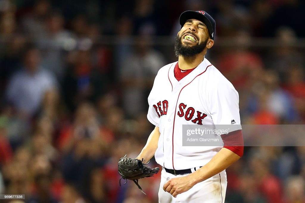 David Price #24 of the Boston Red Sox reacts after giving up a two-run home run in the ninth inning of a game against the Baltimore Orioles at Fenway Park on May 17, 2018 in Boston, Massachusetts.