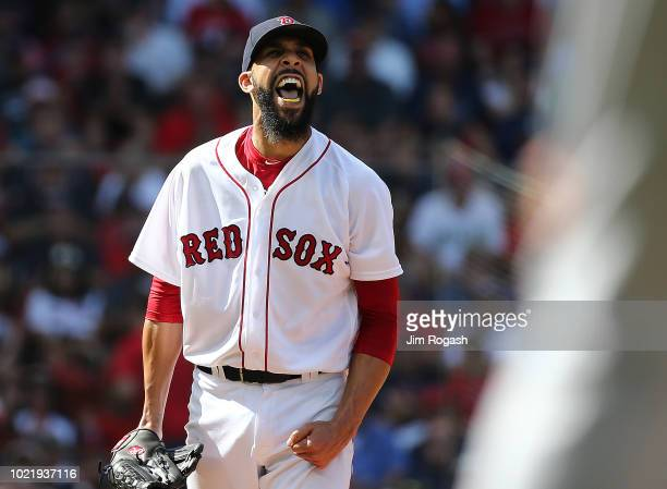 David Price of the Boston Red Sox reacts after pitching against the Cleveland Indians in the eighth inning at Fenway Park on August 23 2018 in Boston...