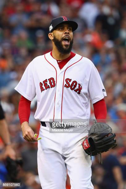 David Price of the Boston Red Sox reacts after pitching in the seventh inning against the Houston Astros during game three of the American League...