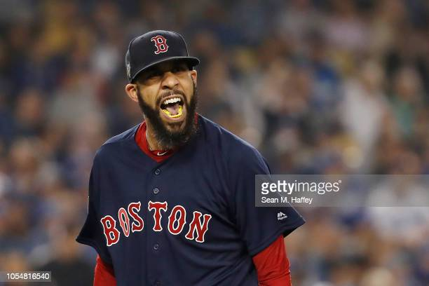 David Price of the Boston Red Sox reacts after retiring the side during the seventh inning against the Los Angeles Dodgers in Game Five of the 2018...