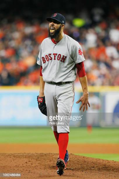 David Price of the Boston Red Sox reacts after striking out Jose Altuve of the Houston Astros to end the sixth inning during Game Five of the...