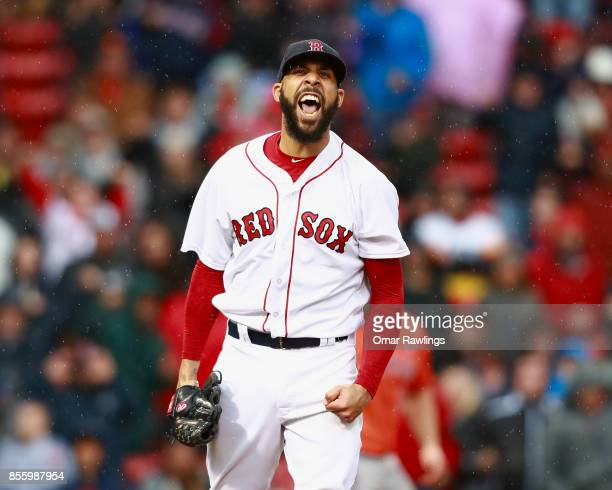 David Price of the Boston Red Sox reacts after striking out the side at the top of the seventh inning during the game against the Houston Astros at...