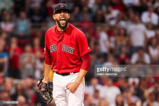 David Price of the Boston Red Sox reacts after the third out is made in the sixth inning during game two of a doubleheader against the Tampa Bay Rays...