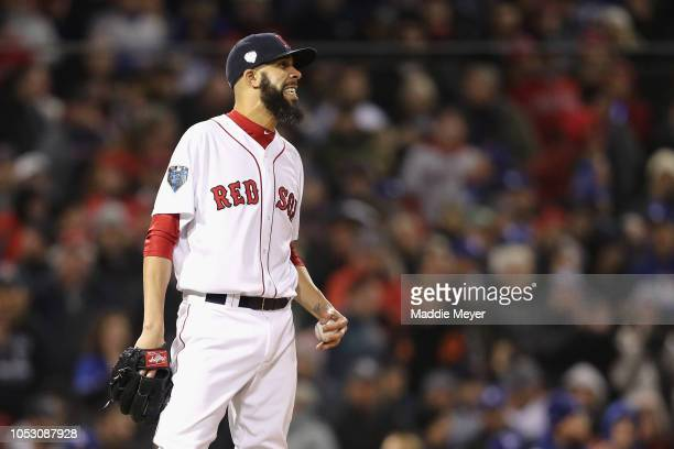 David Price of the Boston Red Sox reacts after walking Chris Taylor of the Los Angeles Dodgers to load the bases during the fourth inning in Game Two...