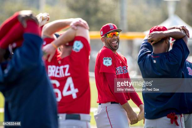 David Price of the Boston Red Sox reacts during a team workout on February 18 2017 at Fenway South in Fort Myers Florida