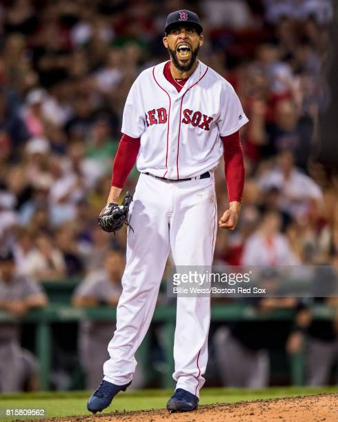David Price of the Boston Red Sox reacts during the eighth inning of a game against the New York Yankees on July 16 2017 at Fenway Park in Boston...