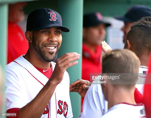 David Price of the Boston Red Sox reacts in the dugout after pitching a scoreless seventh inning against he Toronto Blue Jays at Fenway Park on April...