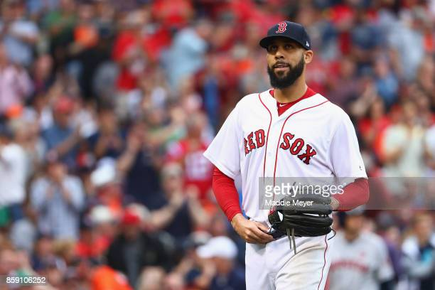 David Price of the Boston Red Sox reacts in the fifth inning against the Houston Astros during game three of the American League Division Series at...