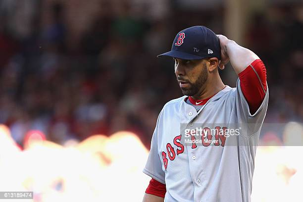 David Price of the Boston Red Sox reacts in the first inning against the Cleveland Indians during game two of the American League Divison Series at...