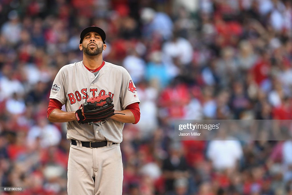 David Price #24 of the Boston Red Sox reacts in the second inning against the Cleveland Indians during game two of the American League Divison Series at Progressive Field on October 7, 2016 in Cleveland, Ohio.