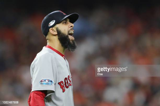 David Price of the Boston Red Sox reacts in the sixth inning against the Houston Astros during Game Five of the American League Championship Series...