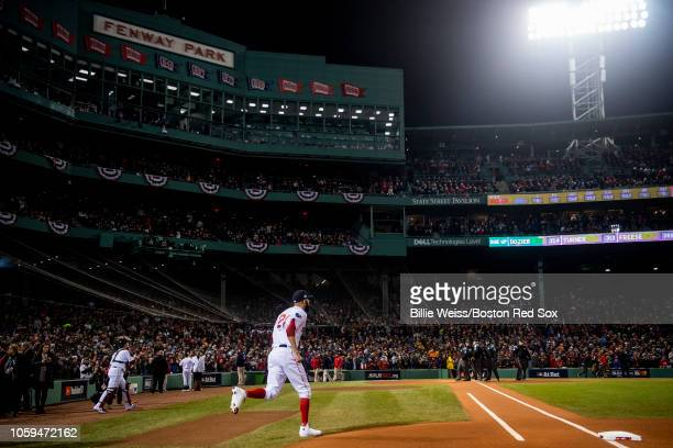David Price of the Boston Red Sox runs onto the field before game two of the 2018 World Series against the Los Angeles Dodgers on October 23 2018 at...