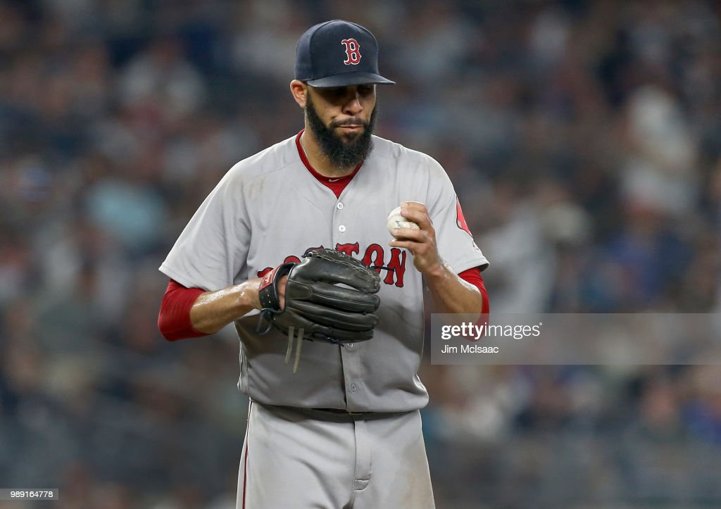 David Price #24 of the Boston Red Sox stands on the mound during the fourth inning against the New York Yankees at Yankee Stadium on July 1, 2018 in the Bronx borough of New York City.