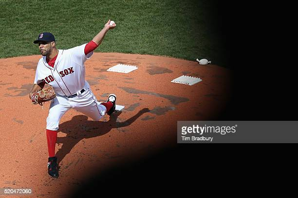 David Price of the Boston Red Sox throws a pitch in the first inning against the Baltimore Orioles during the home opener at Fenway Park on April 11...