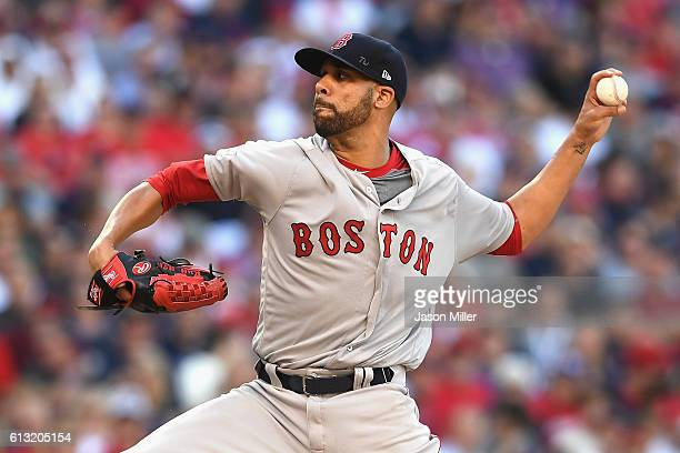 David Price of the Boston Red Sox throws a pitch in the first inning against the Cleveland Indians during game two of the American League Divison...