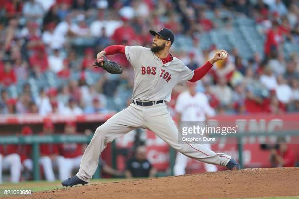 David Price of the Boston Red Sox throws a pitch in the first inning against the Los Angeles Angels of Anaheim at Angel Stadium of Anaheim on July 22...