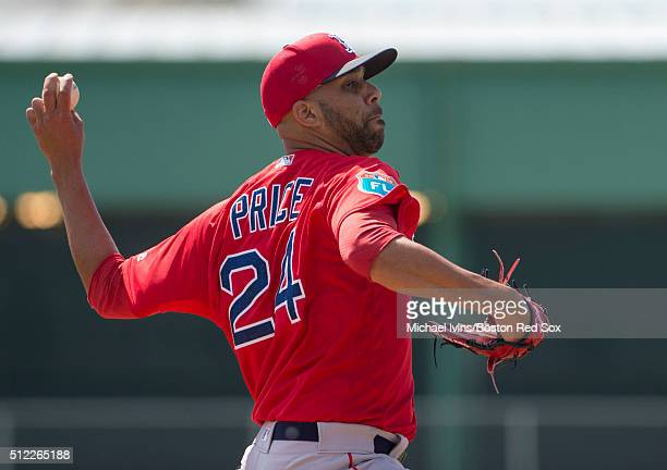 David Price of the Boston Red Sox throws live batting practice on February 25 2016 at Fenway South in Fort Myers Florida