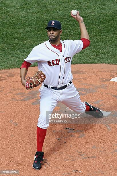 David Price of the Boston Red Sox throws the opening pitch in the first inning against the Baltimore Orioles during the home opener at Fenway Park on...