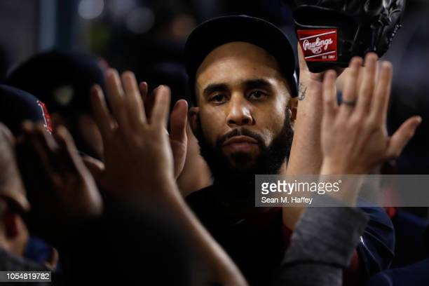 David Price of the Boston Red Sox walks off the field after being taken out of the game during the eighth inning against the Los Angeles Dodgers in...